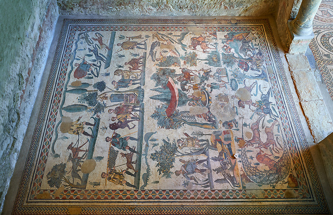 Wide picture of the Roman mosaics of the small hunt, room no 24 at the Villa Romana del Casale, first quarter of the 4th century AD. Sicily, Italy. A UNESCO World Heritage Site.<br /> <br /> The Small Hunt room was used as a living room for guests of the Villa Romana del Casale. The Small hunt mosaic design has 4 registers running across the mosaic depicting hunting scenes. In the first register two servants are handling hunting dogs. In the second register figures are depicted burning incense at an altar to Diana, the goddess of hunting, before the hunt starts. The offering is being made by Constantius Clorus , the Caesar of Emperor Maximianus who owned the Villa Romana del Casale. Behind him is his son the future Emperor Constantine. To the right of the altar is a figure holding the reins of a horse dressed in a clavi decorated with ivy leaves indicating that he belongs to the family of Maximianus.