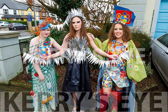 Máire Sabhaois, Aoife Ní Shúilleabháin and Ella Gabhann, students of Gaelcholáiste Chiarraí diplay their creations for this years Junk Koture at the school on Friday.