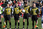 14 November 2010: Match officials. Assistant Referee Chris Penso, Alternate Official Mark Kadlecik, Match Referee Landis Wiley, Assistant Referee Brent Sorg. The University of Maryland Terrapins defeated the University of North Carolina Tar Heels 1-0 at WakeMed Soccer Park in Cary, North Carolina in the ACC Men's Soccer Tournament Championship game.