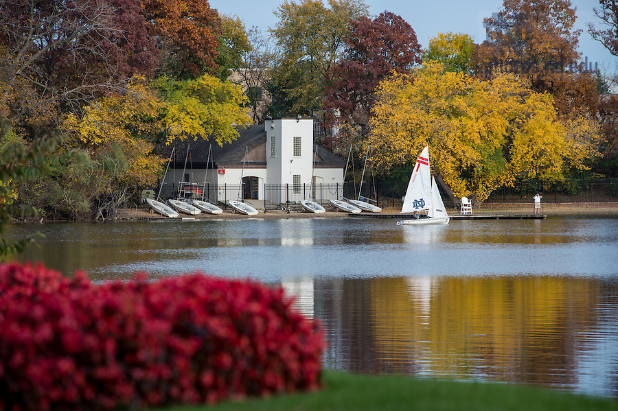 November 3, 2016; Boathouse on St. Joseph's Lake. (Photo by Barbara Johnston/University of Notre Dame)