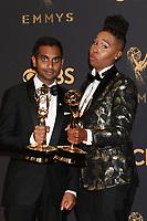 LOS ANGELES - SEP 17:  Aziz Ansari, Lena Waithe at the 69th Primetime Emmy Awards - Press Room at the JW Marriott Gold Ballroom on September 17, 2017 in Los Angeles, CA