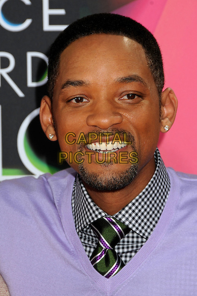 WILL SMITH .at the 23rd Annual Nickelodeon Kids' Choice Awards 2010 held at Pauley Pavilion in Westwood, California, USA, March 27th 2010 .arrivals kids portrait headshot beard facial hair goatee tie purple v-neck smiling gingham check checked green striped diamond studs earrings .CAP/ADM/BP.©Byron Purvis/Admedia/Capital Pictures