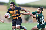 Pat Masoe breaks past Patrick Fa'apoi. Counties Manukau Premier Counties Power Club Rugby Round 4 game between Bombay and Manurewa, played at Bombay on Saturday March 31st 2018. <br /> Manurewa won the game 25 - 17 after trailing 15 - 17 at halftime.<br /> Bombay 17 - Ki Anufe, Chay Macwood tries, Tim Cossens, Ki Anufe conversions,  Ki Anufe penalty. <br /> Manurewa Kidd Contracting 25 - Peter White 2 , Willie Tuala 2 tries, James Faiva conversion,  James Faiva penalty.<br /> Photo by Richard Spranger.
