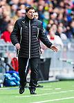 Stockholm 2014-04-06 Fotboll Allsvenskan Djurg&aring;rdens IF - Halmstads BK :  <br /> Halmstads tr&auml;nare Jens Gustafsson reagerar<br /> (Foto: Kenta J&ouml;nsson) Nyckelord:  Djurg&aring;rden DIF Tele2 Arena Halmstad HBK portr&auml;tt portrait tr&auml;nare manager coach