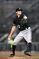 Jimmy Lambert (12) of the Kannapolis Intimidators with the North team pitches during the South Atlantic League All-Star Game on Tuesday, June 20, 2017, at Spirit Communications Park in Columbia, South Carolina. The game was suspended due to rain after seven innings tied, 3-3. (Tom Priddy/Four Seam Images)