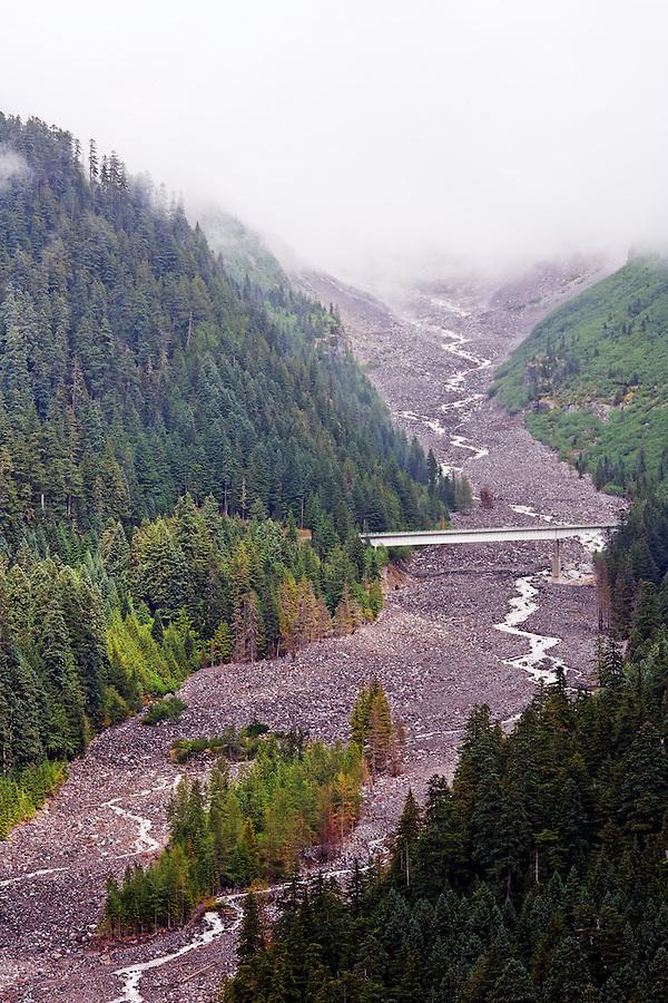 Nisqually River and Nisqually River Bridge, Mount Rainier National Park, Washington, USA
