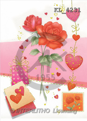 Interlitho, Andrea, VALENTINE, paintings, red roses, pink fond(KL4231,#V#) illustrations, pinturas ,everyday