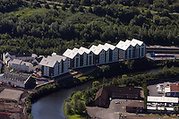 Aerial view of Copper Quarter development by the river Tawe in Swansea
