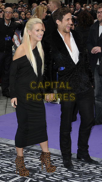 Kimberley Wyatt & Max Rogers .'Dark Shadows' european premiere, Leicester Square, London, England..9th May 2012.full length black suit white shirt dress brown ankle boots leopard print couple holding hands side profile smiling laughing off the shoulder.CAP/CAN.©Can Nguyen/Capital Pictures.