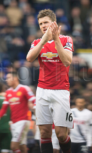 10.04.2016. White Hart Lane, London, England. Barclays Premier League. Tottenham Hotspur versus Manchester United. Manchester United midfielder Michael Carrick (16) applauds the travelling Manchester United fans