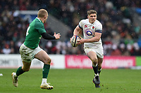 Owen Farrell of England in possession. Natwest 6 Nations match between England and Ireland on March 17, 2018 at Twickenham Stadium in London, England. Photo by: Patrick Khachfe / Onside Images