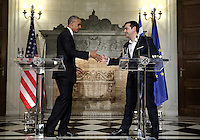 Pictured: US President Barack Obama during a press conference with Greek Prime Minister Alexis Tsipras in Maximou Mansion in Athens, Greece. Tuesday 15 November 2016<br /> Re: US President Barack Obama state visit to Greece