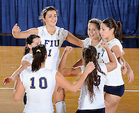 15 November 2008:  FIU's Andrea Lakovic (1), Yarimar Rosa (3, middle-right), and Sabrina Gonzalez (12, far-right) and other teammates celebrate FIU's victory 3-0 (25-14, 25-22, 25-20) over FAU at FIU Stadium in Miami, Florida.