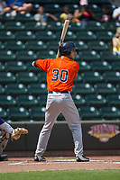 Kyle Tucker (30) of the Buies Creek Astros at bat against the Winston-Salem Dash at BB&T Ballpark on April 16, 2017 in Winston-Salem, North Carolina.  The Dash defeated the Astros 6-2.  (Brian Westerholt/Four Seam Images)