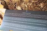 Information panel Hoplomachus gladiator, Circa Romano hippodrome, Merida, Extremadura, Spain
