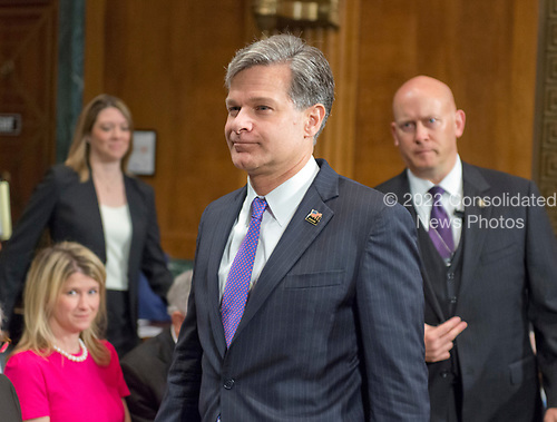 Christopher A. Wray arrives to testify on his nomination to be Director of the Federal Bureau of Investigation (FBI) before the United States Senate Committee on the Judiciary on Capitol Hill in Washington, DC on Wednesday, July 12, 2017.<br /> Credit: Ron Sachs / CNP<br /> (RESTRICTION: NO New York or New Jersey Newspapers or newspapers within a 75 mile radius of New York City)