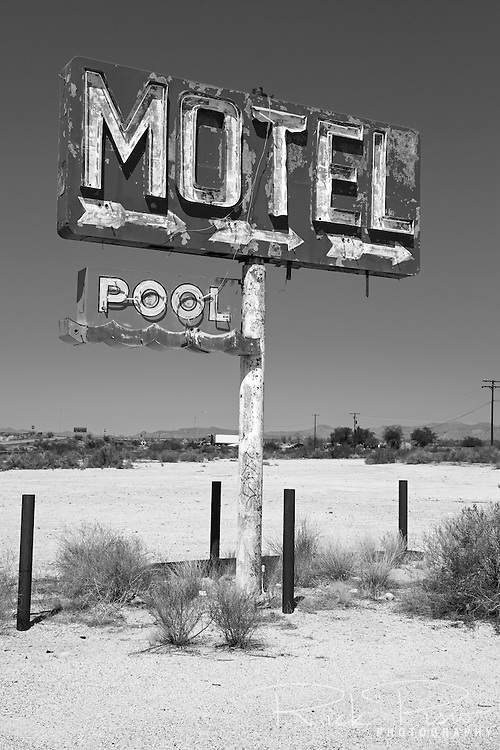 Motel and pool sign along Route 66 in Yucca, Arizona.