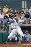 Myrtle Beach Pelicans outfielder L.V. Ware at bat during before a game vs. the Wilmington Blue Rocks at BB&T Coastal Field in Myrtle Beach, SC, on May 29, 2010. Photo By Robert Gurganus/Four Seam Images