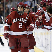 Dylan Reese (Harvard University - Pittsburgh, PA) and Steve Rolecek (Harvard University - Bedford, NH) celebrate Reese's goal which put Harvard up 1-0. The Boston College Eagles defeated the Harvard University Crimson 3-1 in the first round of the 2007 Beanpot Tournament on Monday, February 5, 2007, at the TD Banknorth Garden in Boston, Massachusetts.  The first Beanpot Tournament was played in December 1952 with the scheduling moved to the first two Mondays of February in its sixth year.  The tournament is played between Boston College, Boston University, Harvard University and Northeastern University with the first round matchups alternating each year.