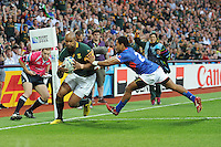 JP Pietersen of South Africa scores a hat trick during Match 15 of the Rugby World Cup 2015 between South Africa and Samoa - 26/09/2015 - Villa Park, Birmingham<br /> Mandatory Credit: Rob Munro/Stewart Communications