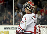 UNO goalie John Faulkner during a break in action. Faulkner made 33 saves to earn a school-record and NCAA-leading sixth shutout. UNO beat St. Cloud State 3-0 Friday night at Qwest Center Omaha.  (Photo by Michelle Bishop)