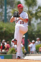 University of South Carolina Gamecocks pitcher Sam Dyson #20 pitching during the 2nd and deciding game of the NCAA Super Regional vs. the University of Coastal Carolina Chanticleers on June 13, 2010 at BB&T Coastal Field in Myrtle Beach, SC.  The Gamecocks defeated Coastal Carolina 10-9 to advance to the 2010 NCAA College World Series in Omaha, Nebraska. Photo By Robert Gurganus/Four Seam Images