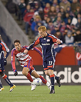 New England Revolution midfielder/defender Jeff Larentowicz (13) controls ball. The New England Revolution defeated FC Dallas, 2-1, at Gillette Stadium on April 4, 2009. Photo by Andrew Katsampes /isiphotos.com