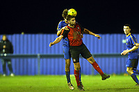 Jordan Westcott of Romford  and Ross Wall of Coggeshall Town  during Romford vs Coggeshall Town, BetVictor League North Division Football at the Brentwood Centre on 16th November 2019