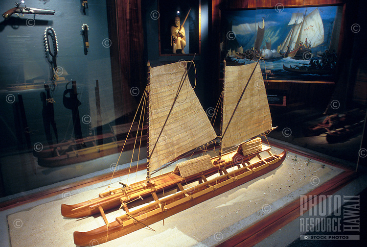 Ft DeRussy park, US army museum with replica model of a Polynesian voyaging sailing canoe