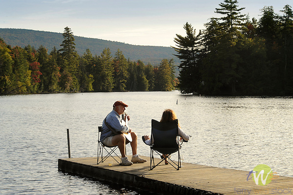 Couple sitting on Seventh Lake