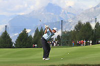 Peter Lawrie (IRL) on the 17th on the 1st day of the Omega European Masters, Crans-Sur-Sierre, Crans Montana, Switzerland..Picture: Golffile/Fran Caffrey..
