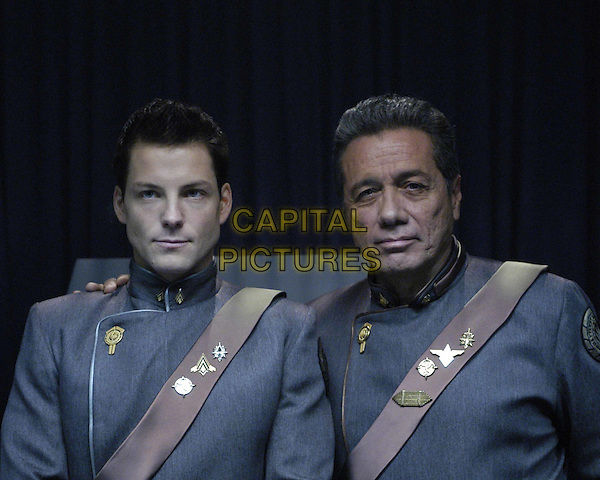 JAMIE BAMBER & EDWARD JAMES OLMOS.in Battlestar Galactica.Filmstill - Editorial Use Only.Ref: FB.www.capitalpictures.com.sales@capitalpictures.com.Supplied by Capital Pictures