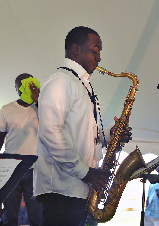 Keith Loftis, playing Tenor Sax, with the Kenyatta Beasley Quintet performing at the 2014 Jazz in the Valley Festival held in Waryas Park on the Hudson River front in Poughkeepsie, NY on Sunday August 17, 2014. Photo by Jim Peppler. Copyright Jim Peppler 2014 all rights reserved.