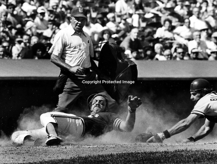 Mike Epstein slides safely into home. 1972 photo by Ron Riesterer