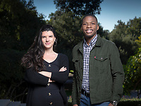 Jacques Lesure '19, President, Associated Students of Occidental College and Micol Garinkol '19, ASOC Vice President for Financial Affairs.<br /> Photographed December 7, 2018 in the plaza between Johnson and Fowler Halls.<br /> (Photo by Marc Campos, Occidental College Photographer)