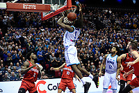 GRONINGEN - Basketbal, Donar - Spirou, Martiniplaza, Europe Cup, seizoen 2019-2020, 27-11-2019,  Donar speler Donte Thomas in de rebound