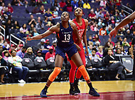 Washington, DC - June 3, 2018: Connecticut Sun forward Chiney Ogwumike (13) and Washington Mystics forward LaToya Sanders (30) fight for position after a free throw during game between the Washington Mystics and Connecticut Sun at the Capital One Arena in Washington, DC. (Photo by Phil Peters/Media Images International)