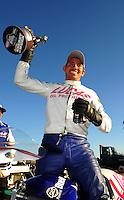 Oct. 16, 2011; Chandler, AZ, USA; NHRA pro stock motorcycle rider Hector Arana Jr celebrates after winning the Arizona Nationals at Firebird International Raceway. Mandatory Credit: Mark J. Rebilas-