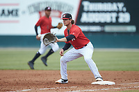 Kannapolis Intimidators first baseman Michael Hickman (13) fields a throw during the game against the Rome Braves at Kannapolis Intimidators Stadium on April 7, 2019 in Kannapolis, North Carolina. The Intimidators defeated the Braves 2-1. (Brian Westerholt/Four Seam Images)