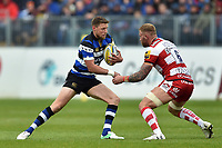 Rhys Priestland of Bath Rugby in possession. Aviva Premiership match, between Bath Rugby and Gloucester Rugby on April 30, 2017 at the Recreation Ground in Bath, England. Photo by: Patrick Khachfe / Onside Images