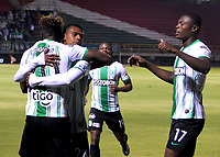 TUNJA-COLOMBIA, 11-02-2020: Jugadores Atlético Nacional, celebran el gol anotado a Boyacá Chicó F. C., durante partido entre Patriotas FC y Atlético Nacional, de la fecha 4 por la Liga BetPlay DIMAYOR I 2020 en el estadio La Independencia en la ciudad de Tunja. / Players of Atlético Nacional, celebrate a scored goal to Boyacá Chicó F. C., during a match between Boyaca Chico F. C. and Atlético Nacional, of the 4th date for the BetPlay DIMAYOR Leguaje I 2020 at La Independencia stadium in Tunja city. / Photo: VizzorImage / José Miguel Palencia / Cont.