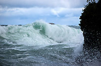 Large waves on Lake Superior capture just before it meets the shoreline. Marquette, MI Upper Peninsula