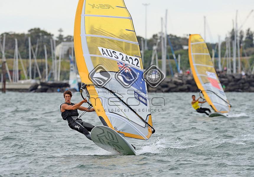 RSX-Men / Patrick Vos (AUS)<br /> 2013 ISAF Sailing World Cup - Melbourne<br /> Sail Melbourne - The Asia Pacific Regatta<br /> Sandringham Yacht Club, Victoria<br /> December 1st - 8th 2013<br /> &copy; Sport the library / Jeff Crow