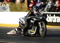 Oct. 16, 2011; Chandler, AZ, USA; NHRA pro stock motorcycle rider Matt Smith during the Arizona Nationals at Firebird International Raceway. Mandatory Credit: Mark J. Rebilas-