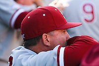 NASHVILLE, TENNESSEE-Feb. 26, 2011:  Pitching Coach Rusty Filter of Stanford observes the game against Vanderbilt, during a game at Vanderbilt University in Nashville, Tennessee.  Vanderbilt defeated Stanford 8-7.