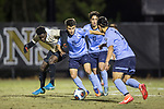 Danny Laranetto (16), John Denis (10), and Nike Azuma (2) try to keep the ball away from Ema Twumasi (22) of the Wake Forest Demon Deacons during second half action in the second round of the 2017 NCAA Men's Soccer Championship at Spry Soccer Stadium on November 19, 2017 in Winston-Salem, North Carolina.  The Demon Deacons defeated the Lions 1-0.  (Brian Westerholt/Sports On Film)