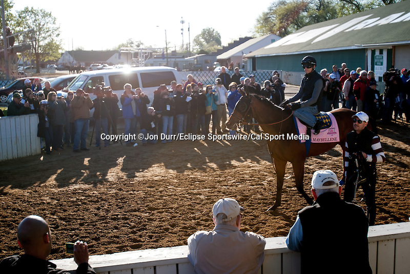 APRIL 27, 2015: Maybellene, trained by Bob Baffert  walks to the track during morning workouts in preparation for the 141st Kentucky Oaks at Churchill Downs in Louisville, Kentucky. Jon Durr/ESW/Cal Sport Media