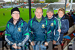 Legion fans Aaron Benson, Tim O'Leary, Tommy and Mary Regan cheering the Legion at the AIB Munster club SFC clash against Nemo Rangers in Pairc Uí Rinn on Sunday