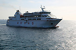 Armas ferry ship 'Volcan de Tindaya' arriving Corralejo, Fuerteventura, Canary Islands, Spain