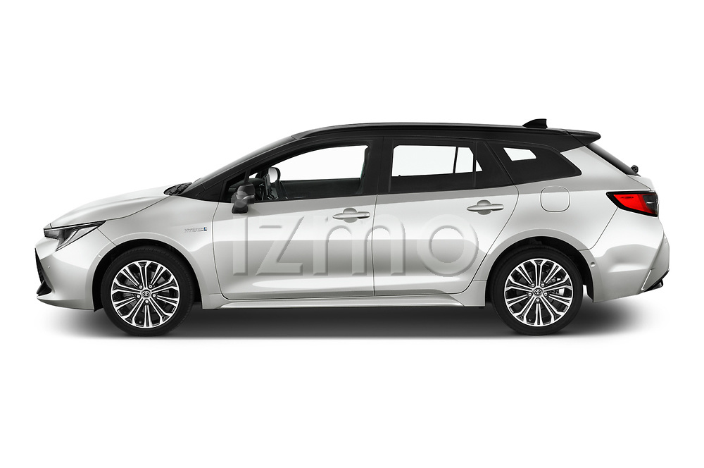 Car Driver side profile view of a 2019 Toyota Corolla-TS-hybrid Style 5 Door Wagon Side View